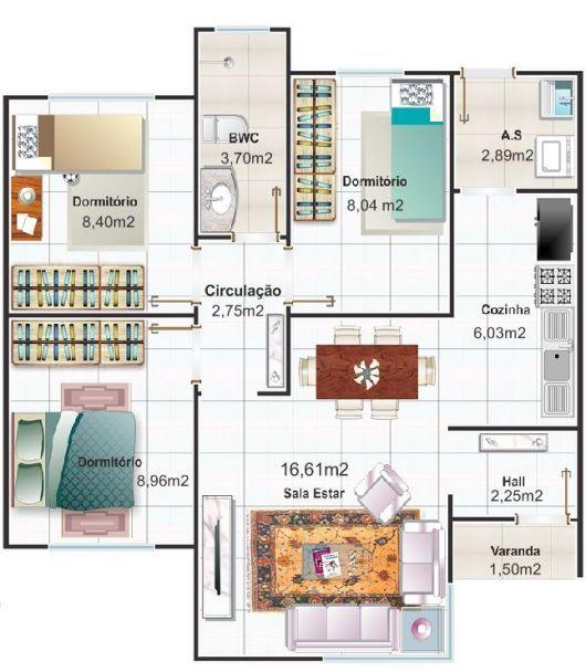 planta três dormitórios