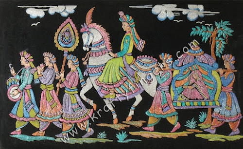 "A handmade emboss painting, portraying the traditional ""Indian Wedding Procession"", that was more prominent in Western India. After the wedding, the bride's vidai took place, in which her family and friends bid her farewell from her parents' house. And then the groom and his family headed back to their home, with the bride. The groom, riding a horse or an elephant, was accompanied by musicians playing drums, flutes, trumpets etc. And amidst all the fanfare was the new bride, seated in a…"