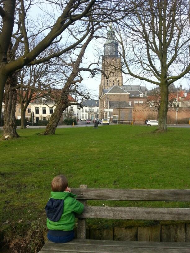 Zicht op Walburgkerk Zutphen