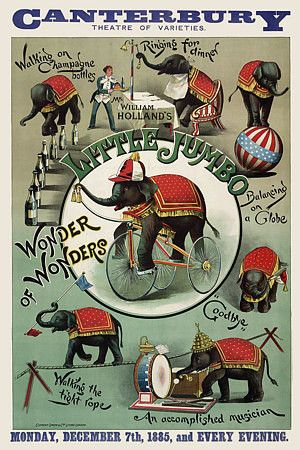 Vintage Circus Poster...loving the vintage look..even these colors could be incorporated with that blue taupe circus fabric. All you would have to add to the bedding would be some red and white striped fabric ;) cute!