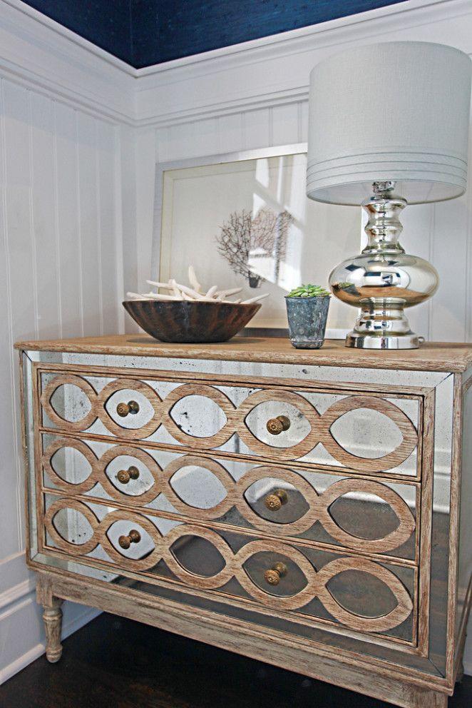 Mirror Dresser on White Walls . Poinsettia . Brooke Wagner Design . brookewagnerdesign.com
