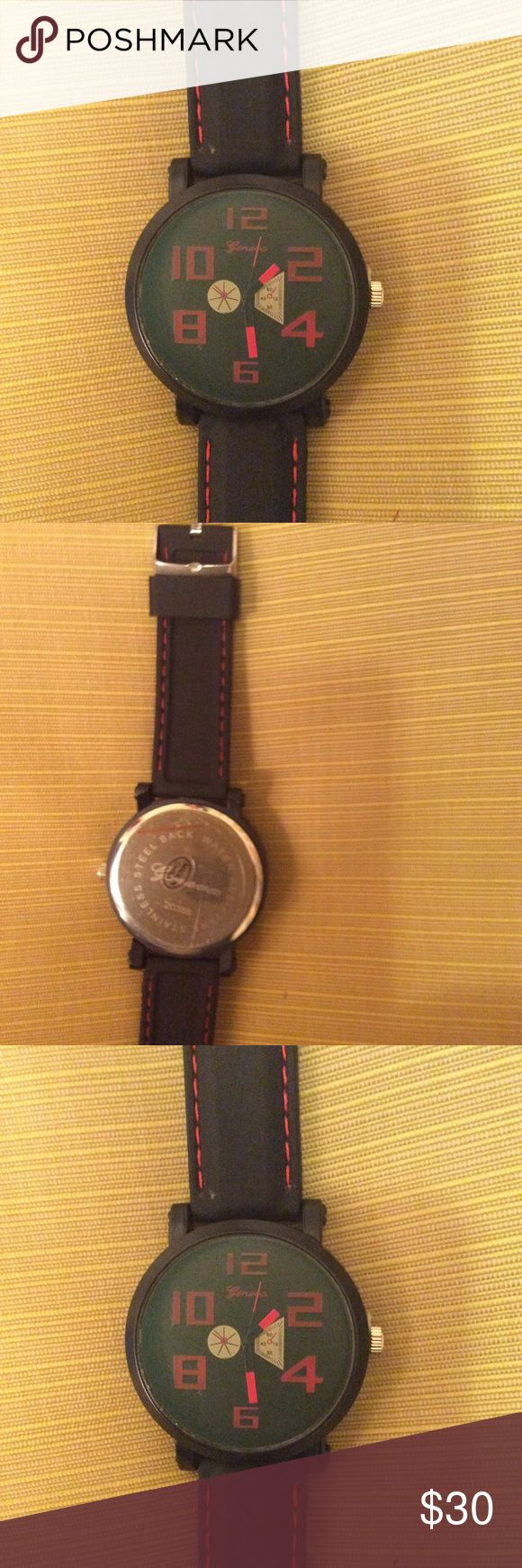 MENS watch black with red numbers red on band MENS watch gereva Accessories Watches