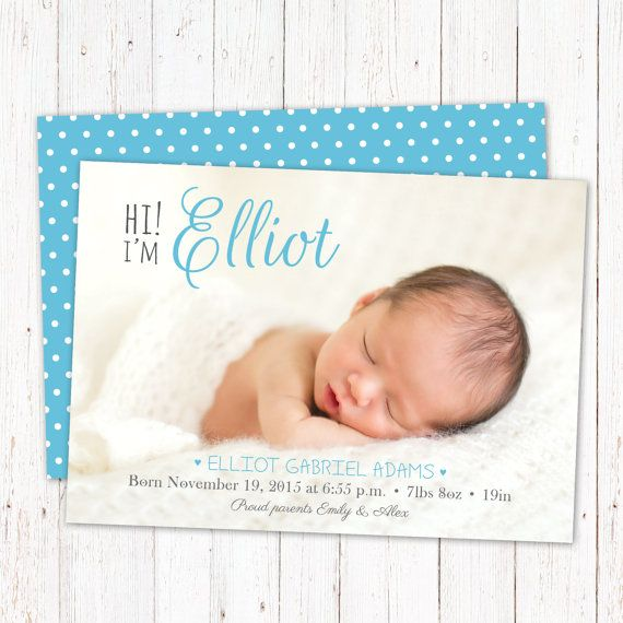 Personalized birth announcement card. Baby boy by GraphicCorner