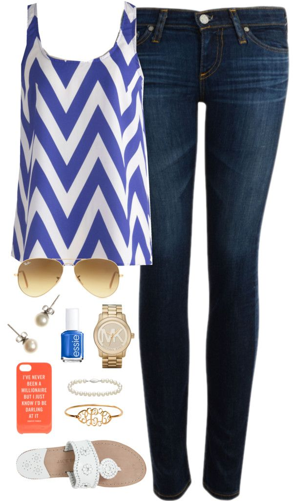OOTD by classically-preppy featuring a kate spade iphone case ❤ liked on PolyvoreBlue chevron shirt / AG Adriano Goldschmied jeans, $145 / Jack Rogers sandals / Michael Kors  jewelry / J.Crew pearl stud earrings / Blue Nile bracelet / Ray-Ban aviator sunglasses / Kate Spade  iphone case / Essie bright blue nail polish