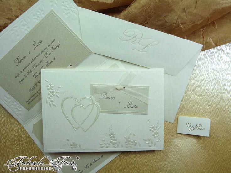 1 I love you butterfly : Partecipazione di Nozze rettangolare su carta bianca martellata con decori a caldo 95089