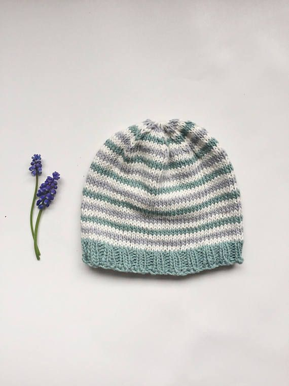 Striped Baby Hat Knitted Baby Beanie Cotton Striped Baby