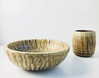 A set of two art stonewares included a small vase and a big art bowl from the RUBUS series by Gunnar Nylund for Rörstrand Sweden. 1960s