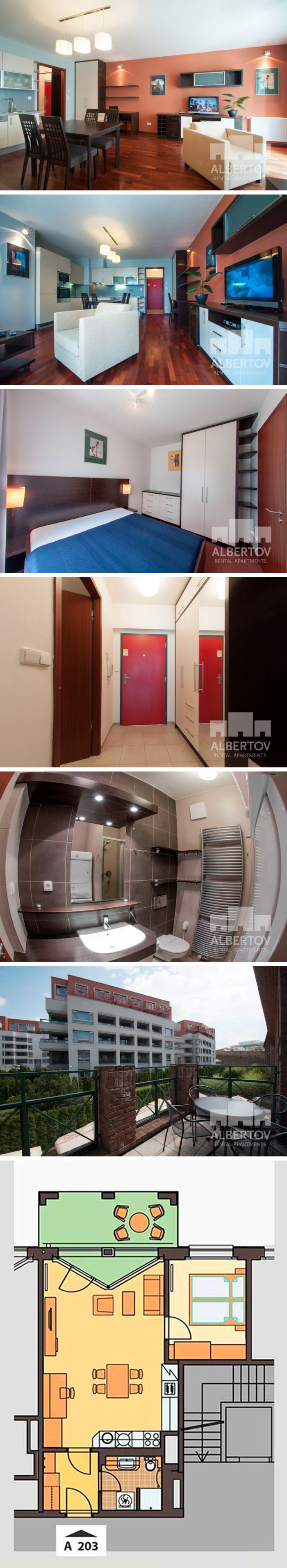 A.203 apartment for rent in Prague: dispozition: 2+kk, floor: 2, balcony, total: 59,2 m2. Albertov Rental Apartments, Horská 2107/2d, Praha 2. Reception: +420 602 22 66 33, reception@albertov.eu, www.albertov.eu