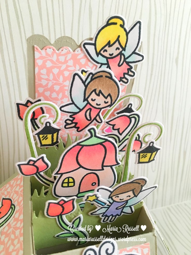 Box card using Lawn Fawn Fairy Friends and Tombow Dot a runner Adhesive #lawnfawn #fairyfriends #tombowpro