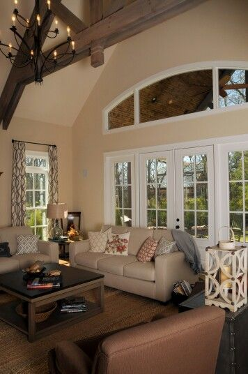 Open living room wood beams country living