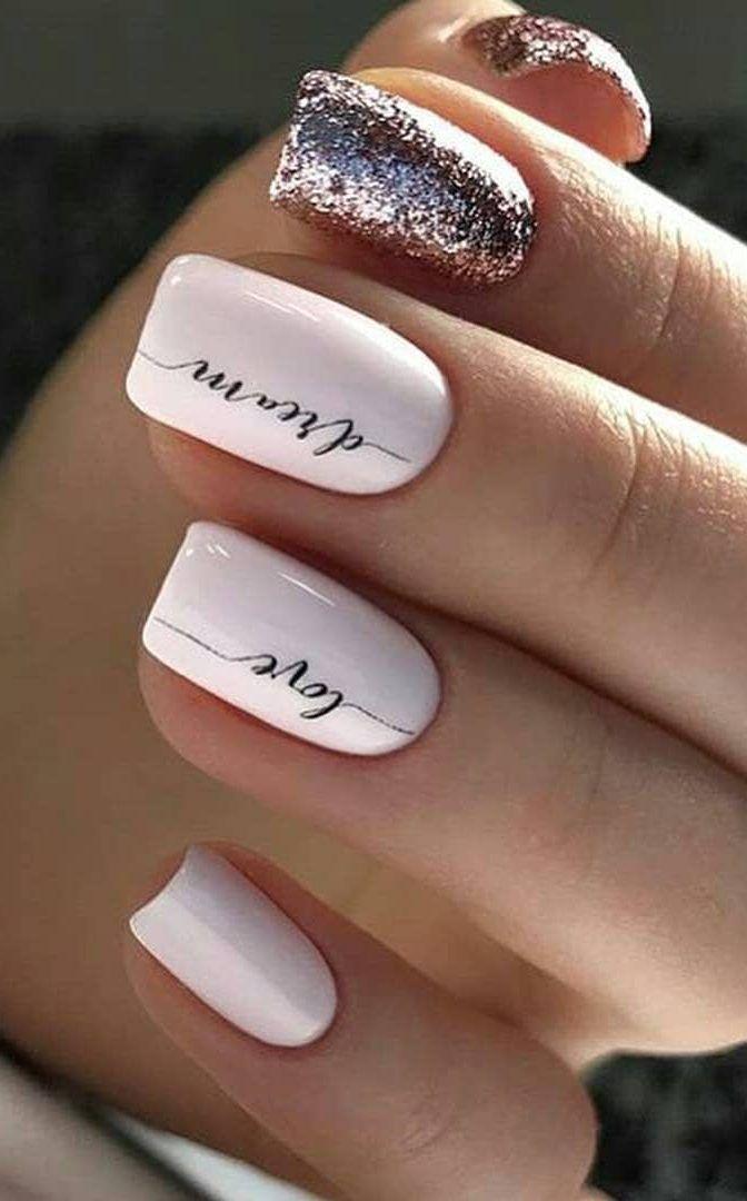 40+ süße und wunderschöne Glitzer Nail Designs Ideen für den Sommer #designs #glitt …   – Valentinstagsnägel