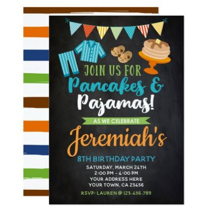 f4145d12ec77 Pancakes and Pajamas Boy Birthday Invitation