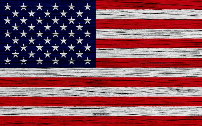 Download wallpapers Flag of USA, 4k, North America, wooden texture, American flag, national symbols, USA national flag, art, USA, United States flag