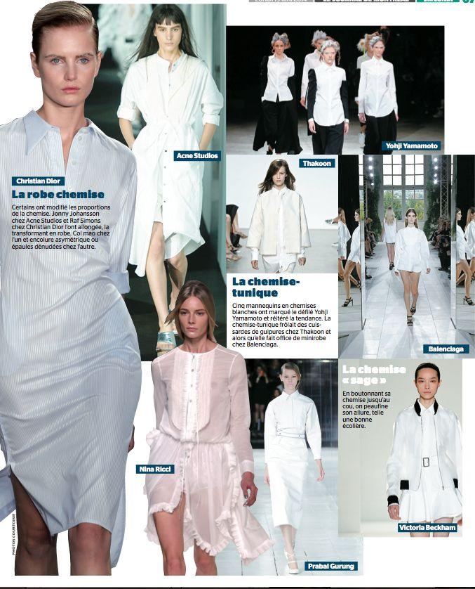 L'élégance de la chemise blanche À la fois élégante et classique, la chemise blanche à laquelle les créateurs offrent avec plaisir et au gré de leur fantaisie un relooking est un incontournable.