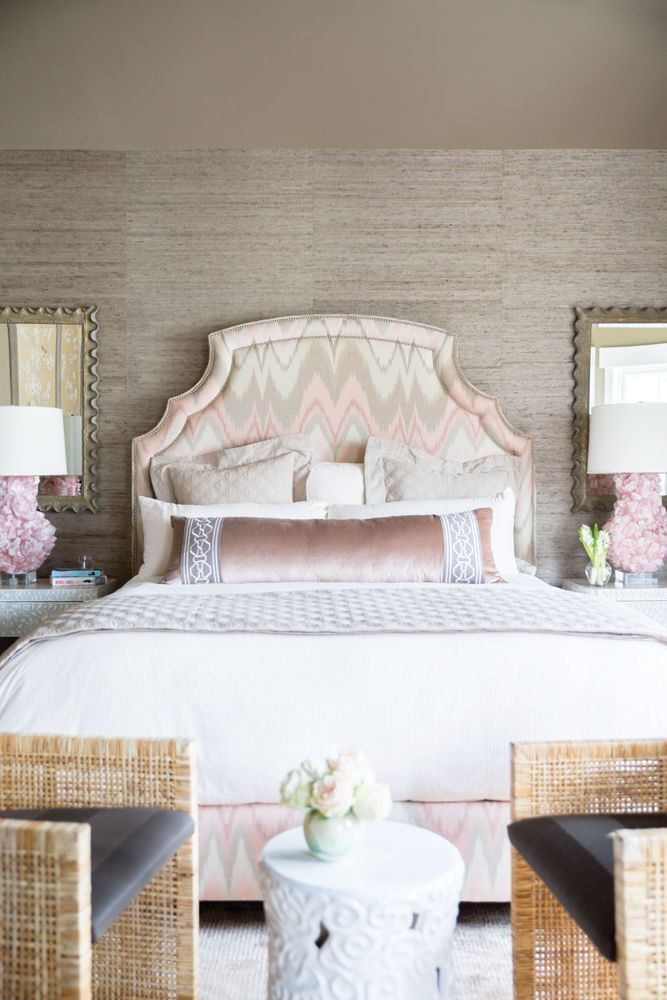hayden panettiere and wladimir klitschko's perfect home Neutral-colored bedding helps balance out the master bedrooms feminine tones.  HEADBOARD  benjaminvandiver.com UPHOLSTERY (covering headboard) Bargello in blush conch (67171), fschumacher.com TABLE LAMPS Sculpted Figure, mccoydesign.com LINENS  frette.com See more images from hayden panettiere and wladimir klitschko's perfect home on domino.com