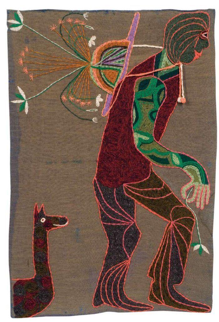 El hombre  1962.  127 x 85 cm.  Yute teñido bordado con lanigrafía  Fundación Violeta Parra