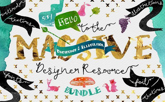 Massive Designer Resource Bundle by Creativeqube Design on @creativemarket