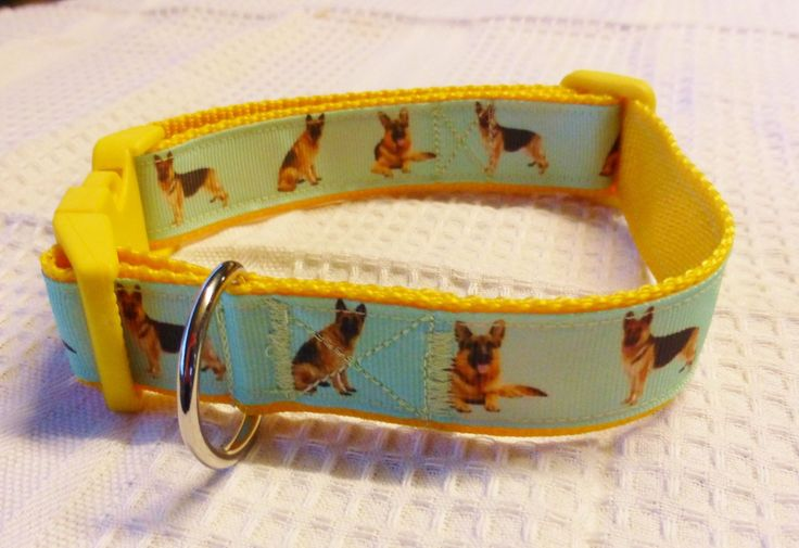 German Shepherd custom print ribbon collar on yellow ribbon $20