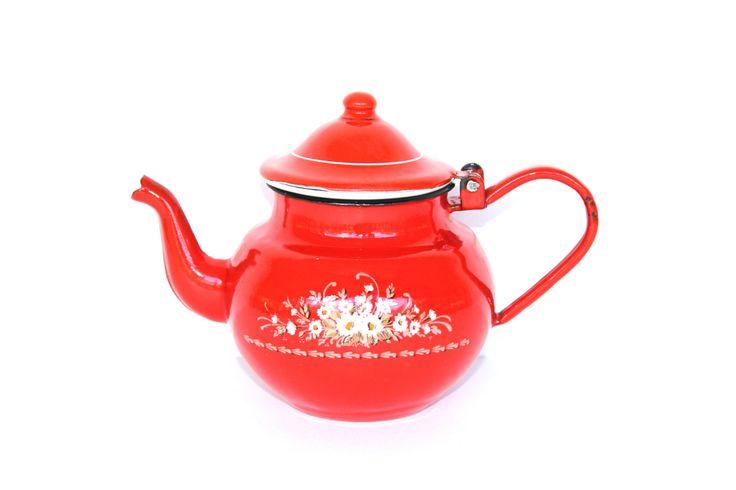 Vintage Enamelware Red Teapot by PupukeaGirlVintage on Etsy