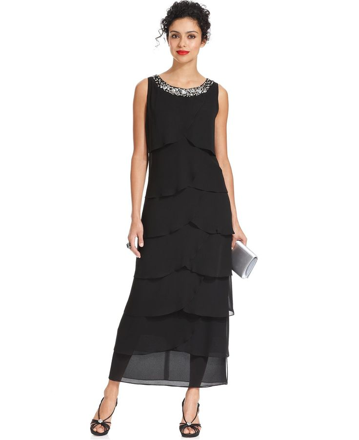 R&M Richards Dress, Sleeveless Beaded Tiered