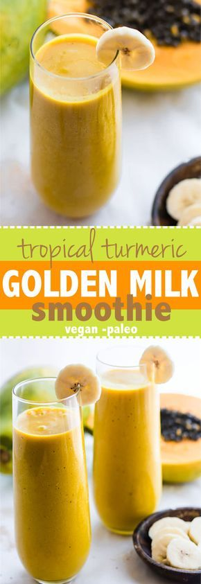 Tropical Turmeric Golden Milk Smoothie! A paleo and vegan friendly smoothie packed with Anti-inflammatory boosting nutrients, fiber, healthy fats, and a whole lotta goodness! Easy to make for a healthy breakfast or anytime. @cottercrunch