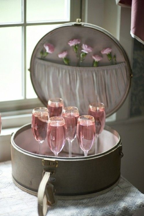 Pink champagne: Hatbox, Hats Boxes, Drinks Stations, Bridal Party, Pink Party, Pink Drinks, Serving Trays, Vintage Luggage, Bridal Showers