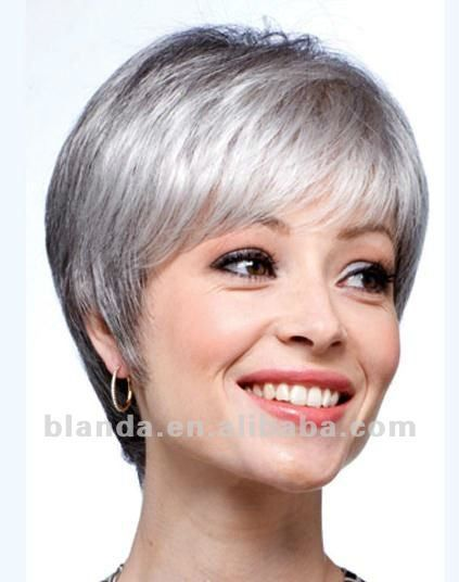 Source Grey Human Hair Short Bob Style Lace Wig On M
