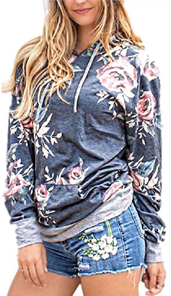 a0e9bd14a2ee5f #5: Angashion Women Hoodies-Tops- Floral Printed Long Sleeve Pocket  Drawstring Sweatshirt