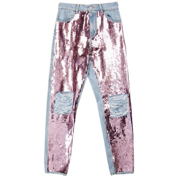 Pink Sequins Jeans (£655) ❤ liked on Polyvore featuring jeans, bottoms, pants, pantalones, ripped skinny jeans, destroyed denim skinny jeans, torn skinny jeans, destroyed denim jeans and destructed jeans