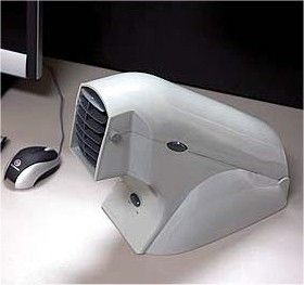 Battery powered Desktop Air conditioner.  For those of us who are hot ALL the time.
