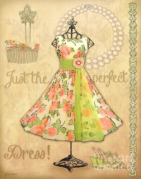 Vintage Party Dress-A Digital Art by Jean Plout - Vintage Party Dress-A Fine Art Prints and Posters for Sale