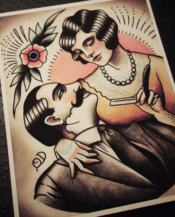 Amante del vintage de peluquería impresión por ParlorTattooPrints