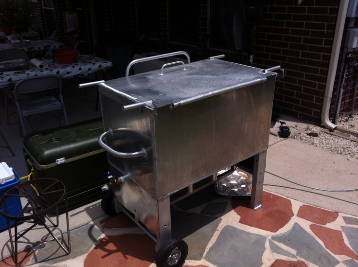This stainless steel crawfish cooker was made by a guy named Otis.