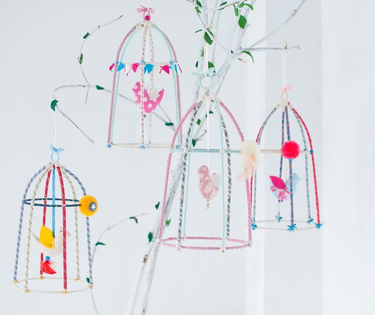 Hand made birdcage, very cute and original room decoration. Made with bamboo sticks and ribbons. For girls and boys