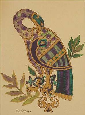 Bird from the Book of Kells. This looks like it could be a goose. The wild goose was the Celtic Christian symbol for the Holy Spirit.