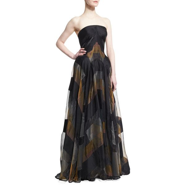 Zac Posen Strapless Metallic-Striped Organza Gown ($5,990) ❤ liked on Polyvore featuring dresses, gowns, mult metallic blk, floor length dress, zac posen gowns, strapless evening gown, floor length evening dresses and organza ball gown
