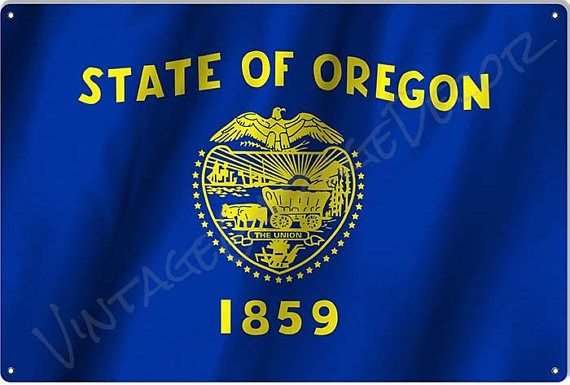 Oregon State Flag On A Metal Sign 25 00 Oregon State Flag State Of Oregon State Symbols
