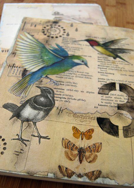 beautiful collaged bird journal by Helen Wheeler-Shaw