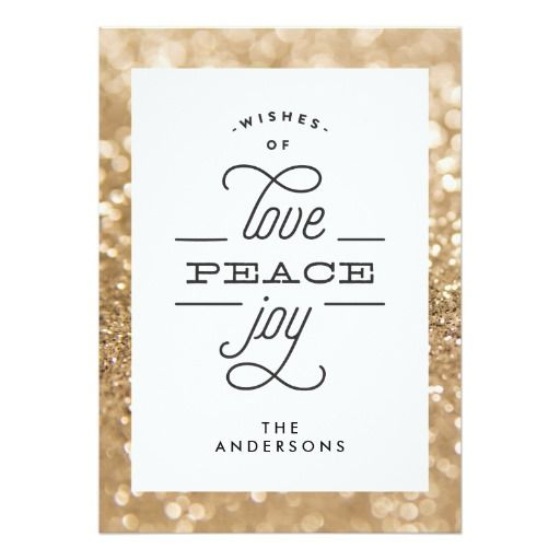 Glitter Shine LOVE PEACE JOY Holiday Card #zazzle