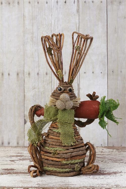 New Primitive Country Garden GRAPEVINE BUNNY Twig Rabbit Figurine Doll Statue