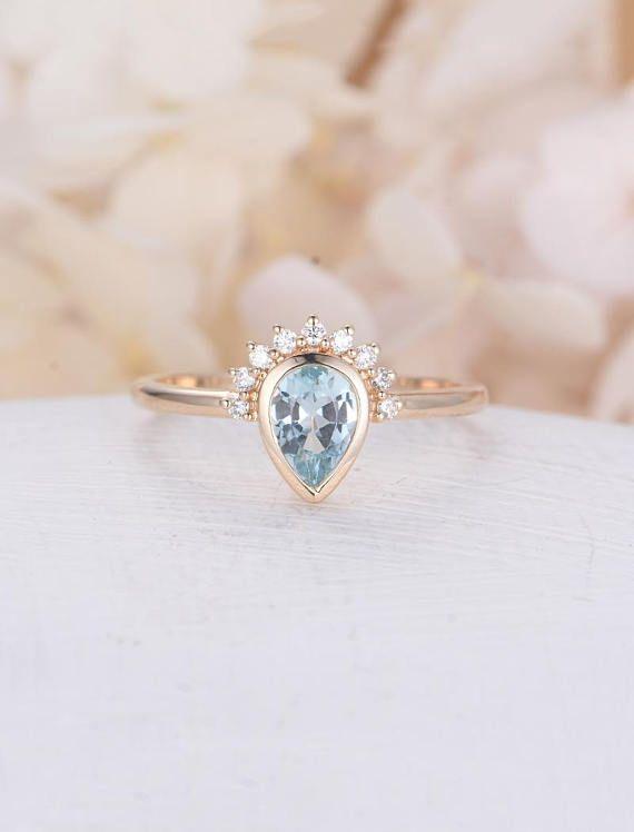 Pear Shaped Aquamarine Engagement Ring Rose Gold Unique Diamond
