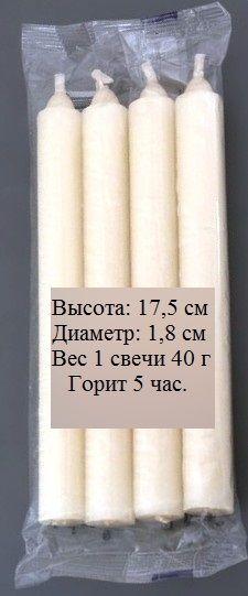 Купить набор свечей из парафина, хозяйственные, белые, 4 штуки с доставкой по Москве, России и миру. Цена 18 руб/шт.