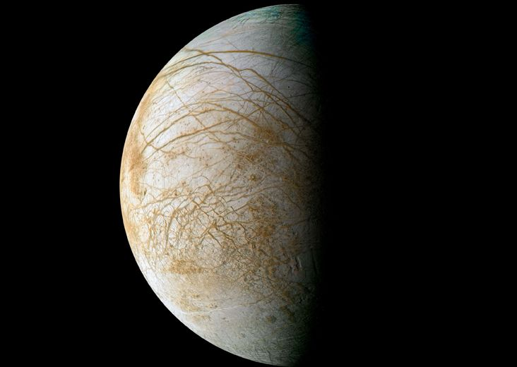 Complex and beautiful patterns adorn the icy surface of Jupiter's moon Europa, as seen in this color image intended to approximate how the satellite might appear to the human eye. The data used to create this view were acquired by NASA's Galileo spacecraft in 1995 and 1998.