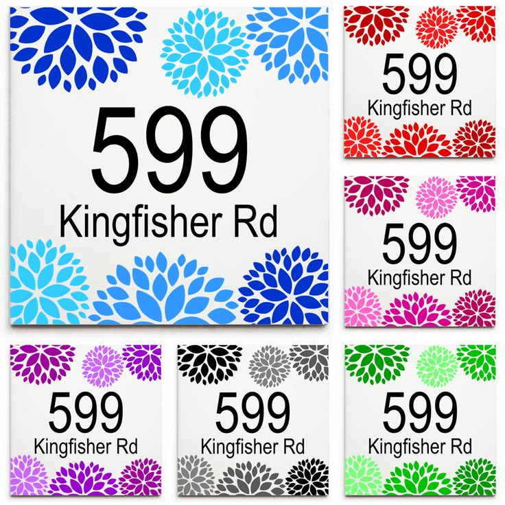 Custom House Number & Street Name Sign/Plaque - Ceramic Tile Print: Floral