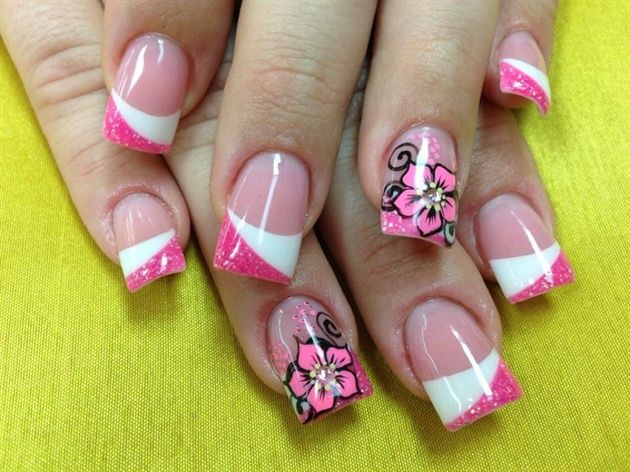 Pink White Flowers by Pinky - Nail Art Gallery nailartgallery.nailsmag.com by Nails Magazine www.nailsmag.com #nailart