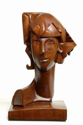Femie Charlotte van Pallandt (1898-1987)   1929  45 cm hoog  beeld  teakhout