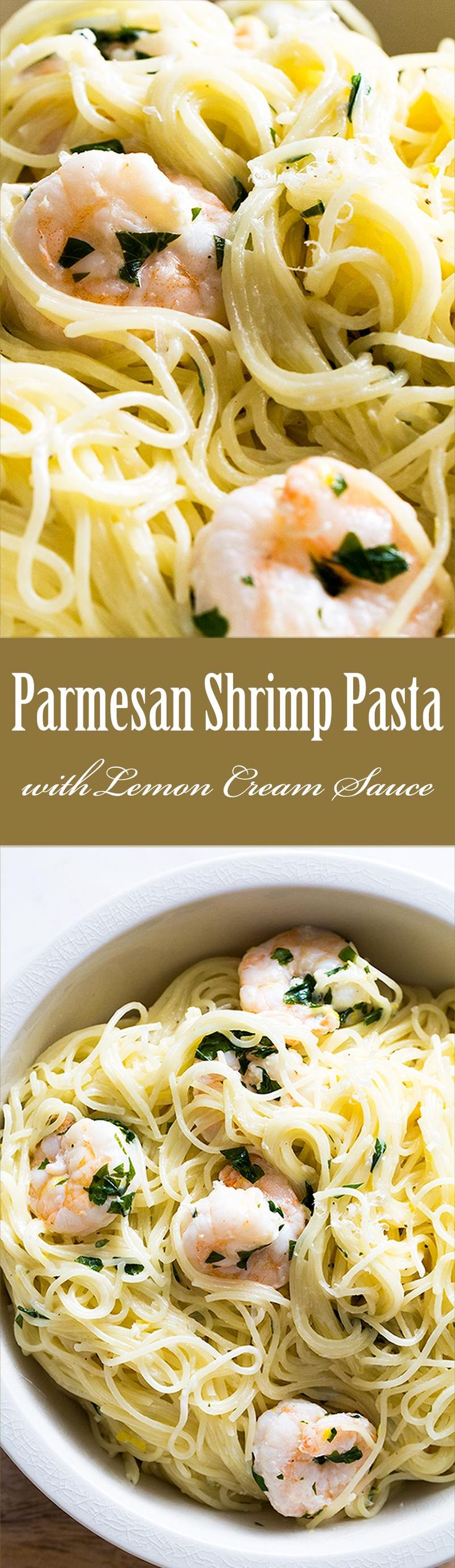 EASY! Cooks up in 15 minutes. Angel hair pasta with shrimp and a delicious parmesan lemon cream sauce. On SimplyRecipes.com