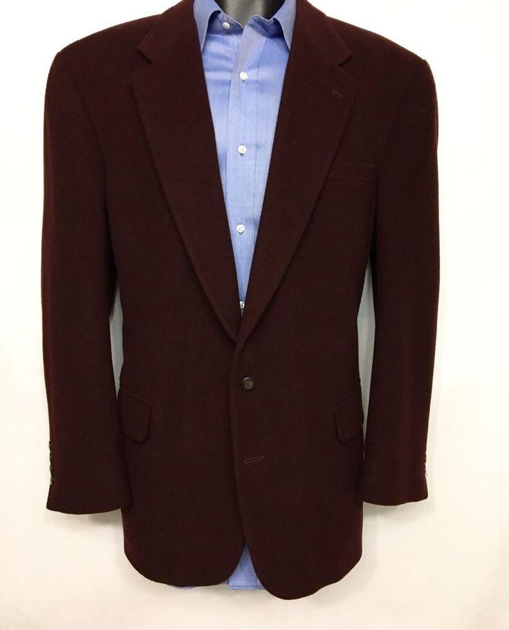 STAFFORD Mens Burgundy Blazer Size 46R | Wool Camel 2 Button Sport Coat #Stafford #TwoButton