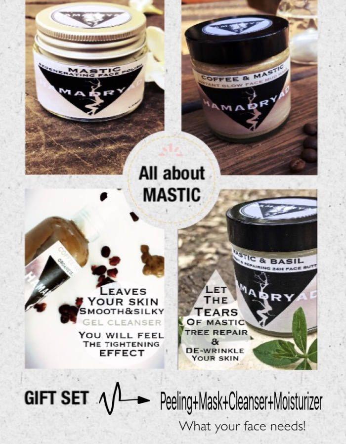 MASTIC GIFT SET~Face cream+Face scrub+Face mask+Gel cleanser