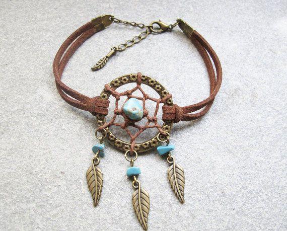 Antique Bronze Dream Catcher Bracelet , Feather Bracelet , Turquoise Beads Bracelet ,Native American Jewelry